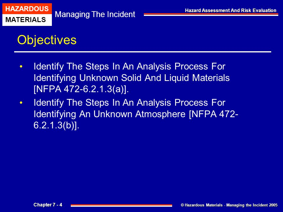 Objectives Identify The Steps In An Analysis Process For Identifying Unknown Solid And Liquid Materials [NFPA 472-6.2.1.3(a)].